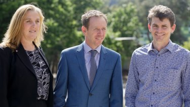 Chair of the Australian photovoltaic institute Renate Egan, ACT minister for climate change and sustainability Shane Rattenbury, and ANU research fellow Dr Matthew Stocks at the launch of a solar potential map.
