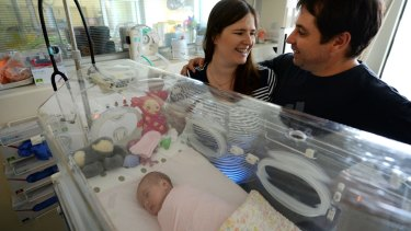 Natasha and Dean Lobban after their baby's birth.