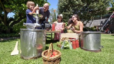Catherine Talarico keeps the tradition with father Aldo Molinaro and kids Orlando and Lilyana.