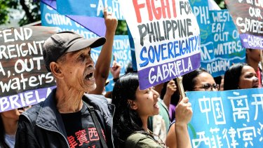 Will the Philippines become emboldened? Anti-China protesters mount a rally against China's territorial claims in front of the Chinese Consulate in Makati, Philippines.