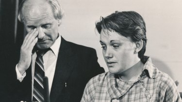 Kylie's mother, Julie, and her grandfather, John Moss, at a press conference in November 1984.