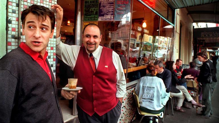 Mario Maccarone (left) and Mario De Pasquale at Marios in 1996.