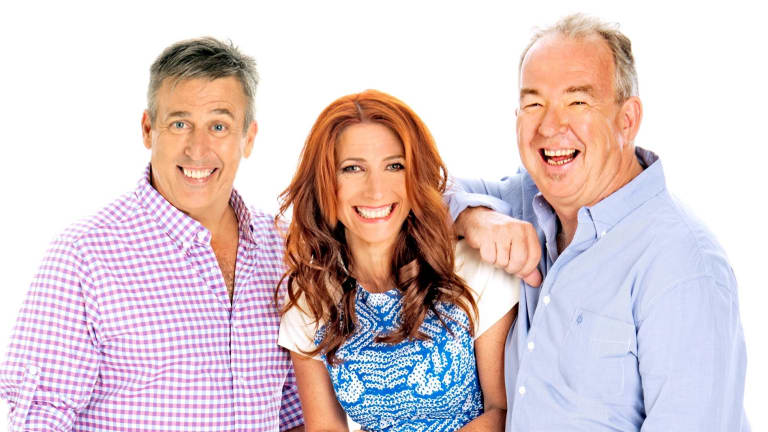 Terry Hansen and Bob Gallagher say goodbye to their co-host Robin Bailey.