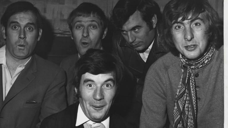 The regular members of the cast of <i>Monty Python's Flying Circus</i>:    Michael Palin (foreground) and (left to right) John Cleese, Graham Chapman, Terry Jones and Eric Idle. February 5, 1979.