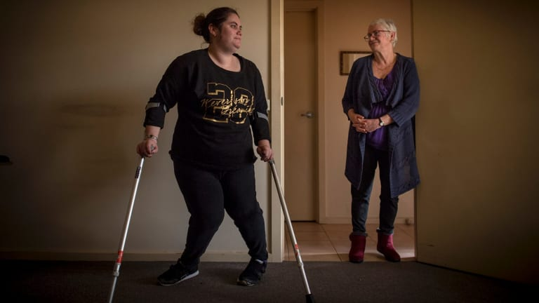 Setback: Gail King (right) says halting the physiotherapy has cost her daughter Jess (left) months of treatment.