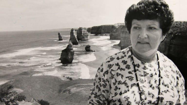 Conservation Minister Joan Kirner at the Twelve Apostles in February 1988.
