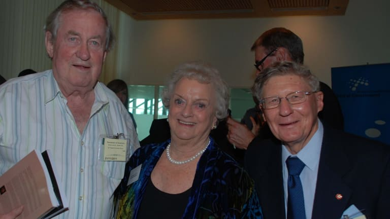 John Farquharson in 2011 with Eric Walsh and Lesley Hindley (formerly Chalmers).