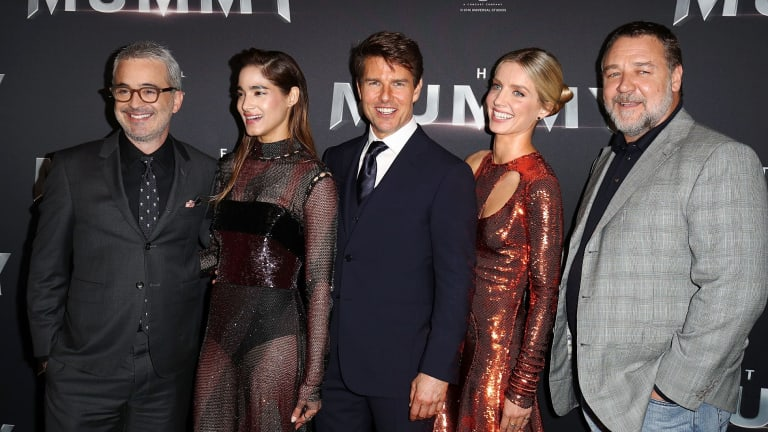 Fimmaker Alex Kurtzman, Sofia Boutella, Tom Cruise, Annabelle Wallis and Russell Crowe at the premiere of The Mummy on Monday night.