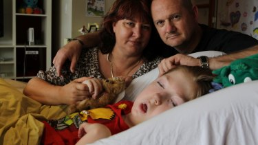 Jo-ann and Michael Morris with their son, Samuel, in 2013 when he was in palliative care at Bear Cottage in Manly.