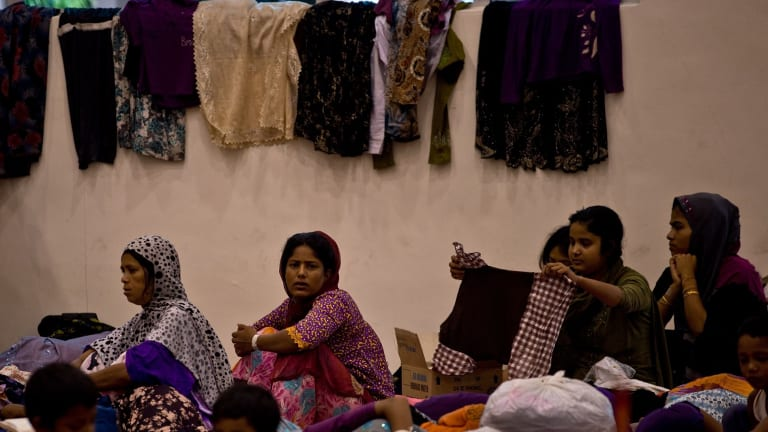 Rohingya women at the temporary detention centre in Langkawi. Nearly 2000 people were rescued off the Indonesian and Malaysian coasts.