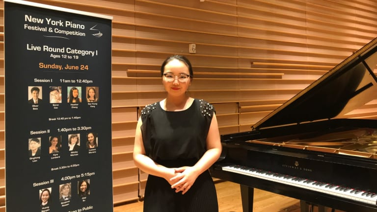 Celine Kang, from Sydney's MLC School, plays piano, oboe, violin and sings.