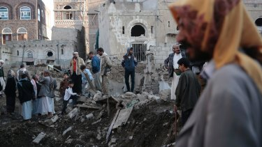 The aftermath of a Saudi-led airstrike near Yemen's Defence Ministry in Sanaa on November 11.