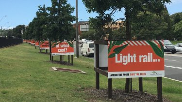Signs protesting the removal of trees for the light rail into Randwick.