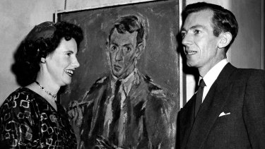 Joy and Eric Smith with one of his self portraits in 1955.