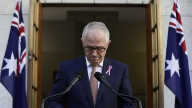 Prime Minister Malcolm Turnbull delivers a press statement at Parliament.