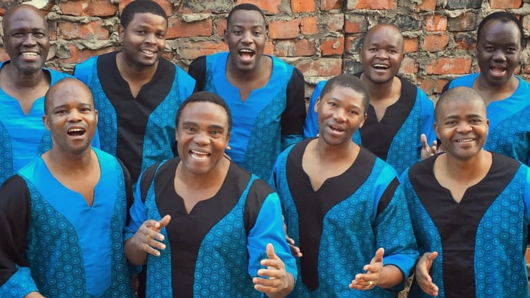 Ladysmith Black Mambazo; Albert Mazibuko at top left.