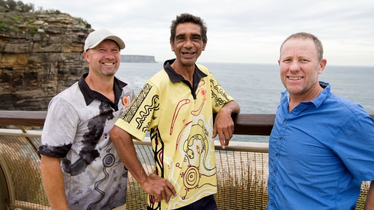 Aboriginal elder Tim Ella with Grant Hyde (left) and Doyles restaurant owner Ben Doyle at Watsons Bay.