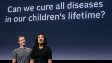 Mark Zuckerberg and his wife, Priscilla Chan, as they prepared for their speech on Wednesday announcing their new goal: to cure, manage or eradicate all disease by the end of this century.