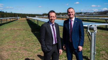 ACT Greens MLA Shane Rattenbury and Chief Minister Andrew Barr at the Mugga lane solar farm.