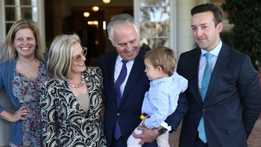 James Brown with his father-in-law, Prime Minister Malcolm Turnbull, at Government House last year.