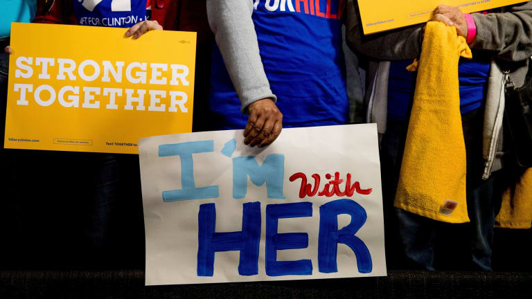 Hillary Clinton has galvanised campaign supporters to declare they are #WithHer