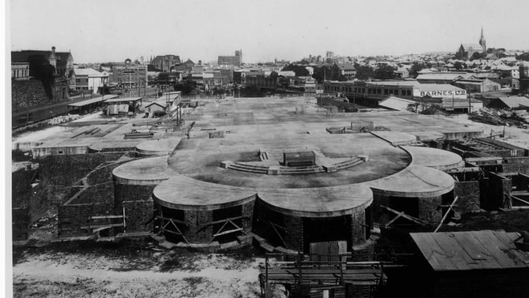 The foundation of the Holy Name Cathedral in Brisbane was constructed. Some of it remains to this day. City Hall and St John's Cathedral can be seen in the background.