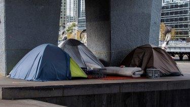 A homeless camp at Enterprize Park in Melbourne.