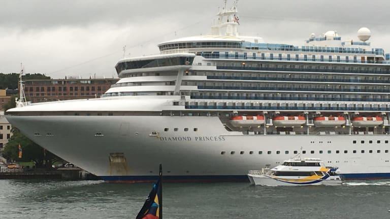 The Diamond Princess docked in Circular Quay on Thursday morning.