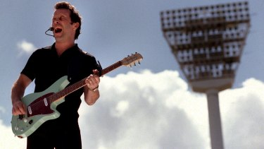 Mark Seymour performing at the MCG. His song 'Holy Grail' is a regular part of the AFL Grand Final.