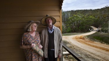 La Mama Theatre's Liz Jones (Nanny) and Richard Bligh (Telegin) in Uncle Vanya, on the verandah of the former Steiglitz hotel, which looks out over the Brisbane Ranges.