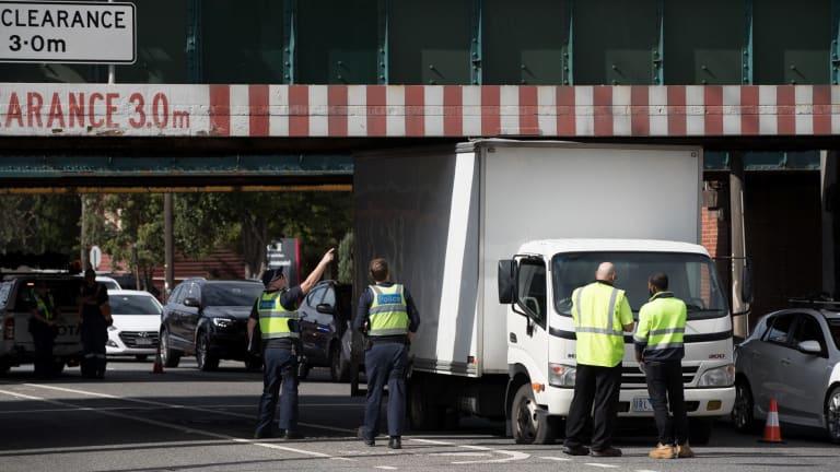 Another vehicle stuck under the Montague street bridge on Thursday.