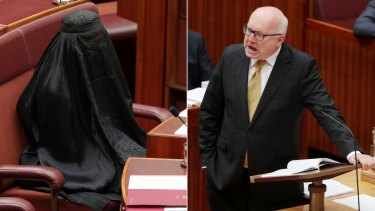 George Brandis put a stop to Pauline Hanson's burqa stunt.