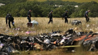Australian Federal Police and their Dutch counterparts at the crash site.