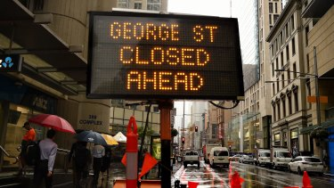 George Street will be closed between Grosvenor and Alfred Street from Friday night due to construction of the light rail line.