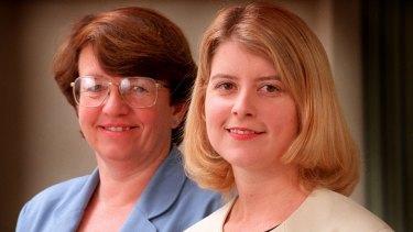 Democrat leader MEg Lees and deputy leader Natasha Stott Despoja in 1997.