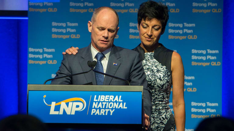 Short reign: Campbell Newman on the night of his 2015 election defeat.