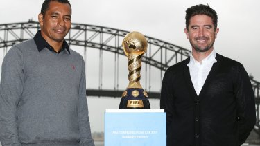Moving on: Harry Kewell (right), pictured promoting the Confederations Cup with former Brazil and Arsenal midfielder Gilberto Silva in March.