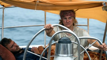 Shailene Woodley, right, and Sam Claflin weather life-threatening crises in Adrift.