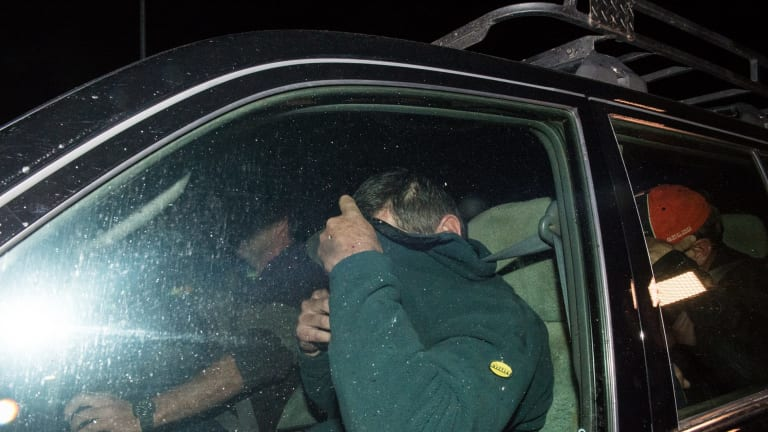 Mark Tromp leaves the Wangaratta Police Station (pictured right) at night after being found near the Wangaratta Airport.