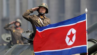 North Korean soldiers during a military parade in Pyongyang.