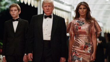Donald Trump with first lady Melania Trump and their son Barron on New Year's Eve.