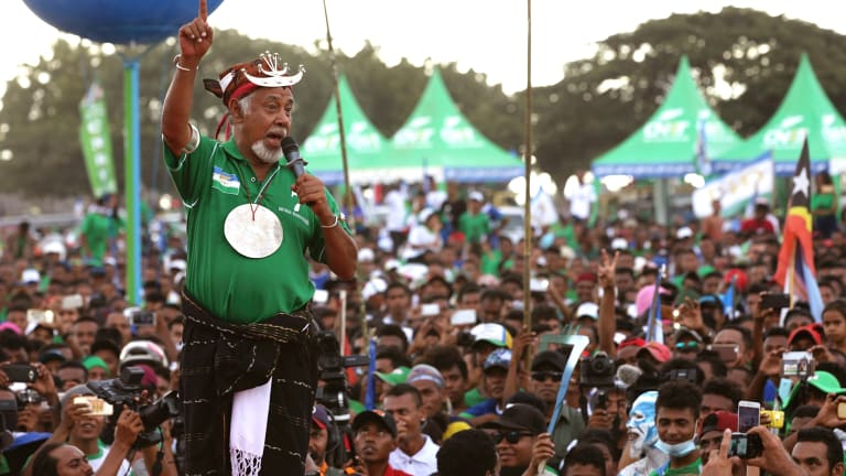 Former East Timorese president Xanana Gusmao speaks to supporters during a CNRT Party campaign rally in Dili, on Tuesday.