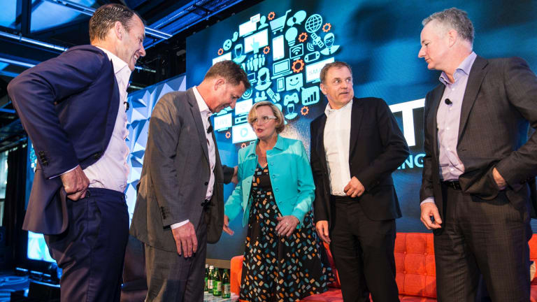 Kim Portrate (centre) at the ThinkTV launch with founding members (from left) Ten CEO Paul Anderson, Seven CEO Tim Worner, Foxtel CEO Peter Tonagh and Nine CEO Hugh Marks.