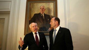 "Former prime ministers John Howard with Tony Abbott have joined the '""no"" campaign."