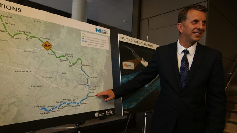 Andrew Constance announces the start of the tender process for the new metro line between Chatswood and Sydenham on Wednesday.