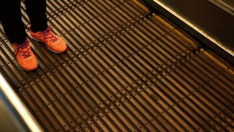 The escalators connect Wynyard Station's ground floor with York Street.