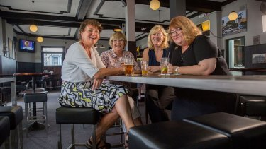 The Alice Campions at their local pub in Enmore. From left: Jane St Vincent Welch, Denise Tart, Jane Richards and Jenny Crocker.