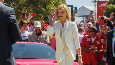 Charlize Theron at the Grand Prix in March, to promote the Capitol Grand apartments.