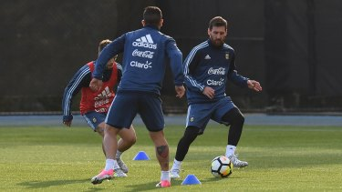 Argentina great Lionel Messi trains at La Trobe University on Monday night.