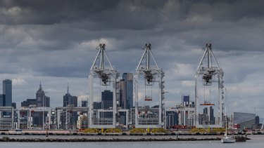 A view of the Port of Melbourne from Williamstown.